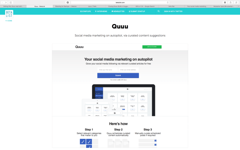 Quuu on Betalist