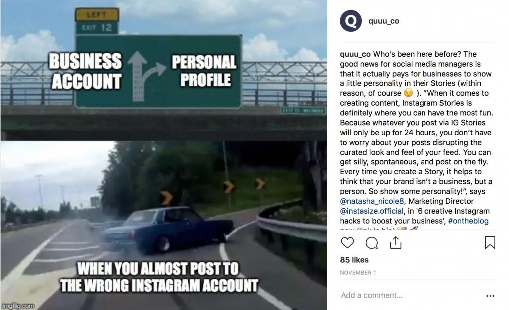 Quuu Instagram meme