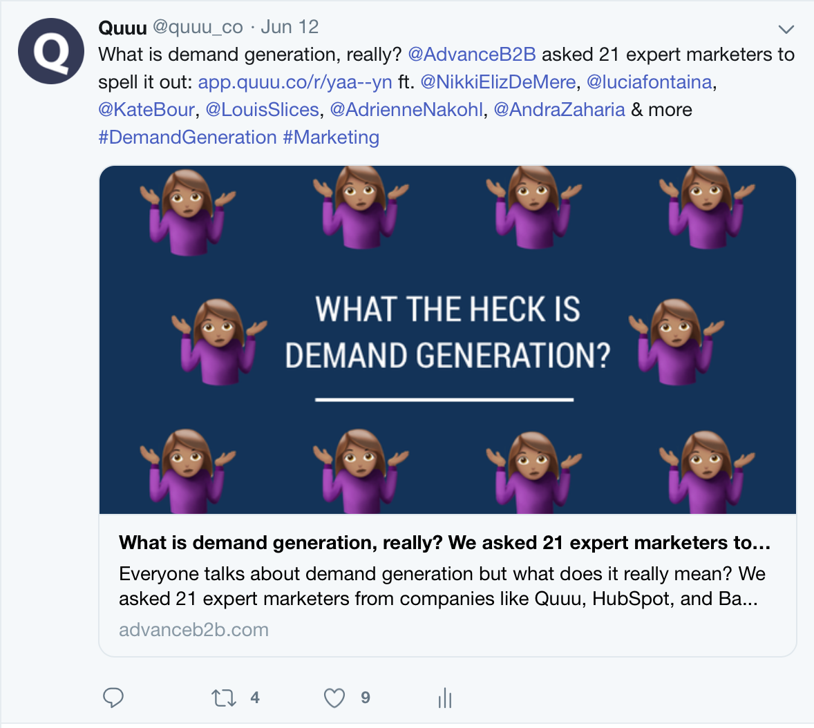 Screenshot of a Quuu tweet talking about demand generation highlighting the idea of mentioning people in your tweets.