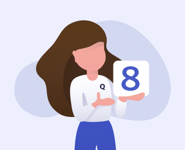 Woman holding a guide to content curation strategy with an 8 on the front cover to show there are 8 tips