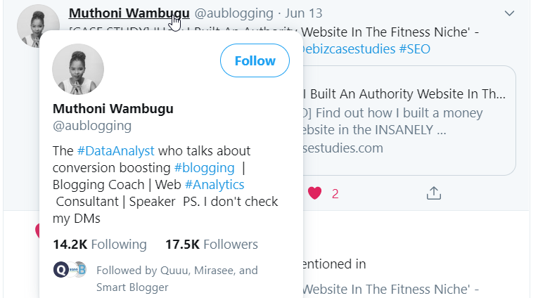 A screenshot of a Twitter user from Quuu sharing a Quuu Promote user's content, and they have over seventeen thousand followers.
