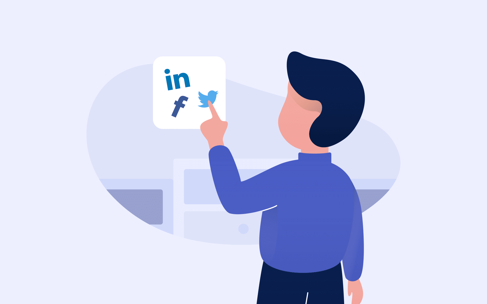 An animated man carefully selected pieces of content to go on his social media accounts